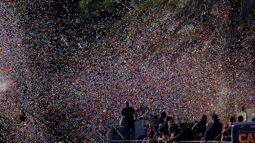 Fiesta de celebración del título de Liga en Barcelona ante miles de azulgranas