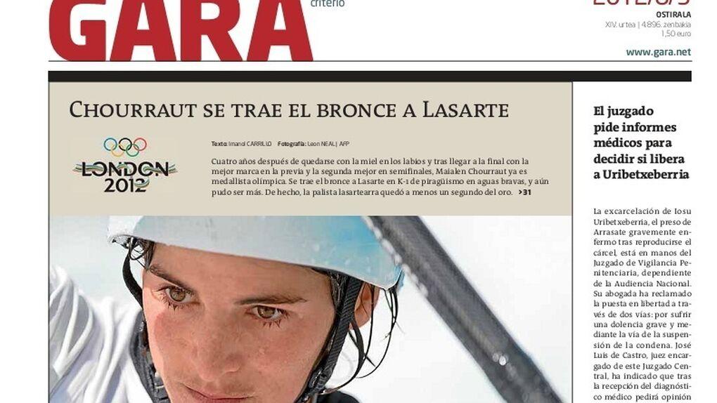 Euskal Herría en el medallero o cómo borrar de la portada de 'Gara' todo vestigio de España