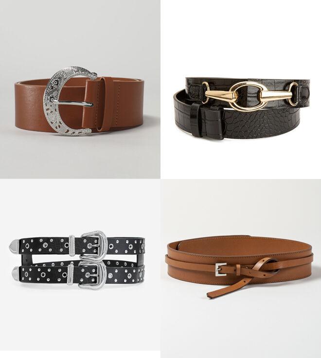 LEFTIES Cinturón marrón. PVP: 6.99€ // LA REDOUTE Cinturon de coco negro. PVP: 12.98€ // THE KOOPLES Cinturón doble. PVP: 110€ // NONA BCN Cinturón marrón con lazo. PVP: 139€