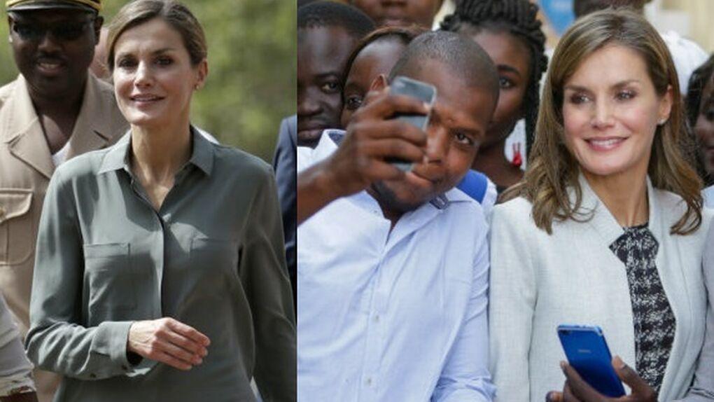 Letizia se muestra cercana, se hace selfies y recicla looks en su viaje a Senegal