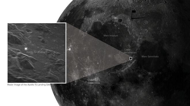 Localización de la zona de alunizaje del Apolo 15 capturada con radar