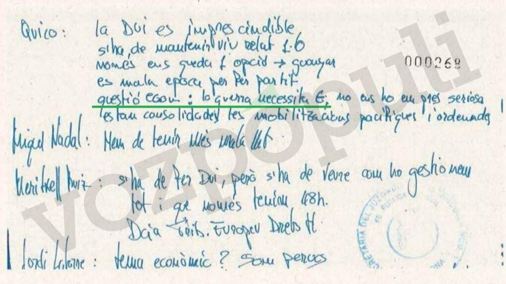 """Las notas secretas del PDeCAT tras el 1-O: """"La guerra necesita euros"""""""
