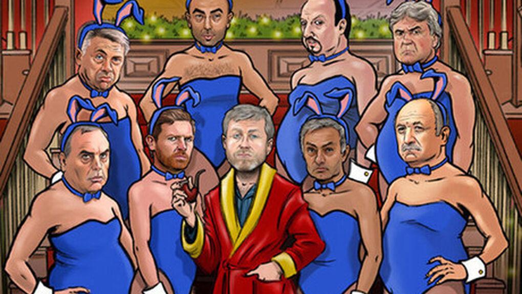 Mourinho, como una conejita de Play Boy de Abramovich, Blatter en ropa interior, Puyol haciendo ballet...