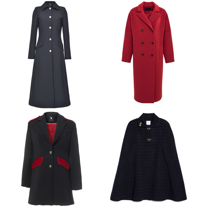 PINKO Abrigo marino largo. PVP: 495€ // IKKS Abrigo rojo. PVP: 187.50€ // LAURA BERNAL Abrigo con bolsillos rojos. PVP: 245€ // SANDRO Capa de cuadros. PVP: 272.50€