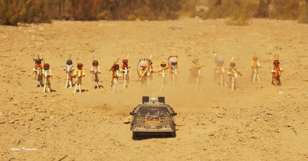 Recrean con Playmobil la escena en la que los indios persiguen al Delorean en Regreso al Futuro