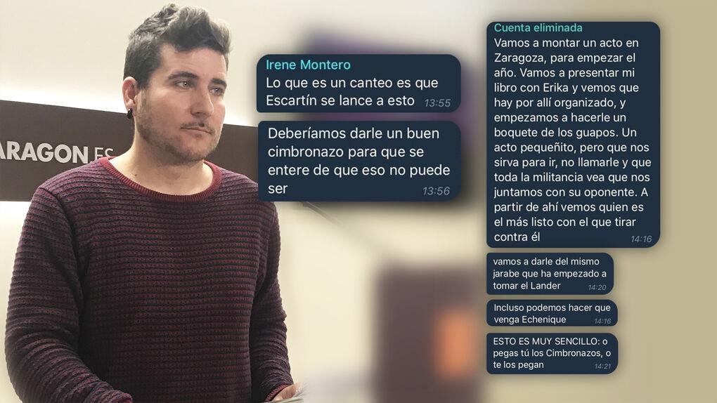 """El chat que ejecutó la purga de Podemos en Aragón: """"A Escartín deberíamos darle un buen cimbronazo para que se entere"""""""