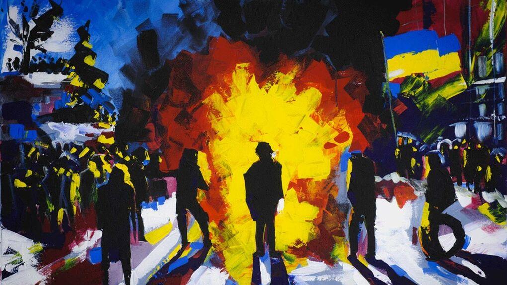 Cócteles molotov y pintura para retratar la nueva Ucrania