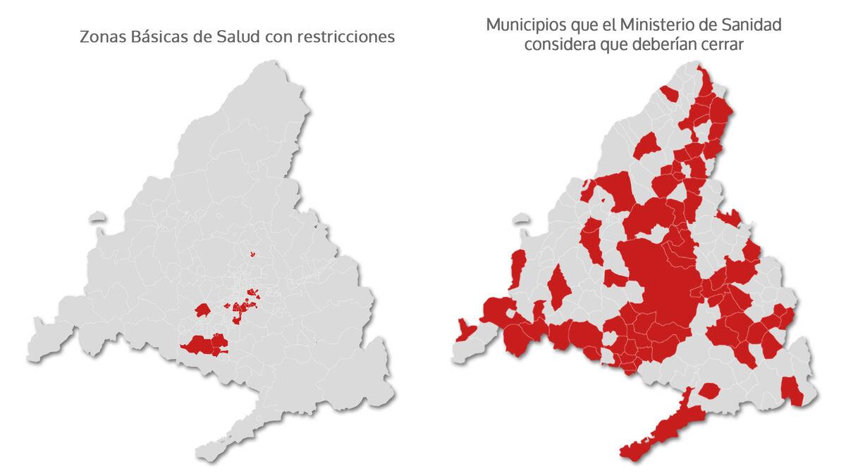 El Gobierno planea confinar 72 municipios de Madrid si Ayuso no rectifica las medidas
