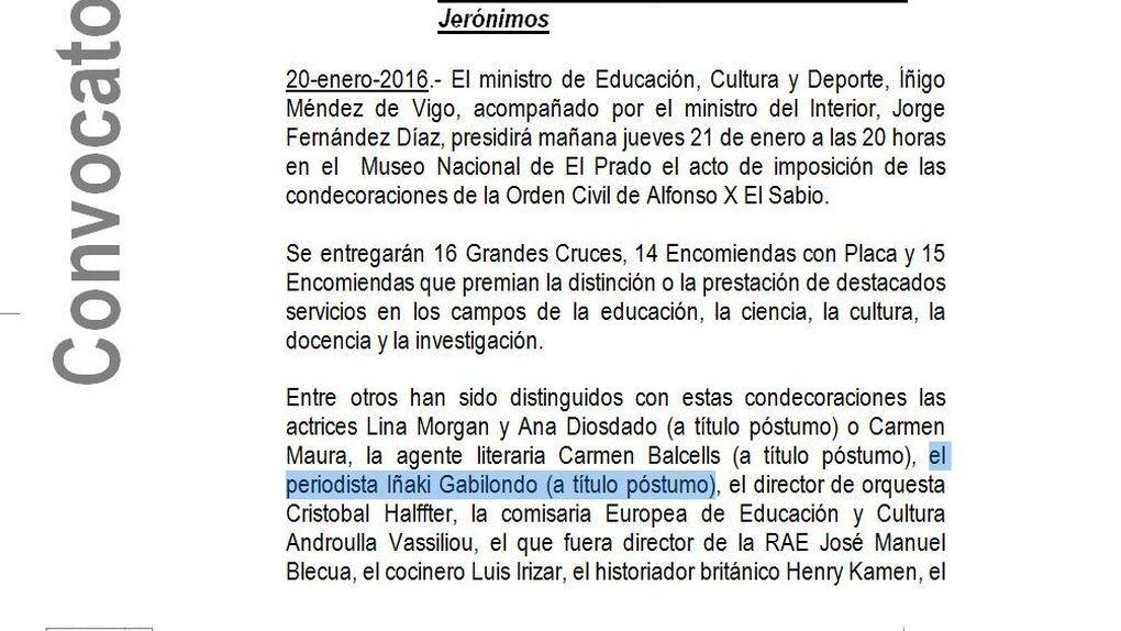 Cultura concede por error  la Orden Alfonso X de 'forma póstuma' al periodista Iñaki Gabilondo