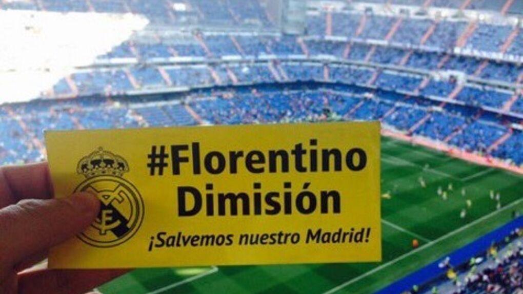 """Los gritos de """"¡Florentino, dimisión!"""" del Movimiento Ámbar vuelven a retumbar en el Santiago Bernabéu"""