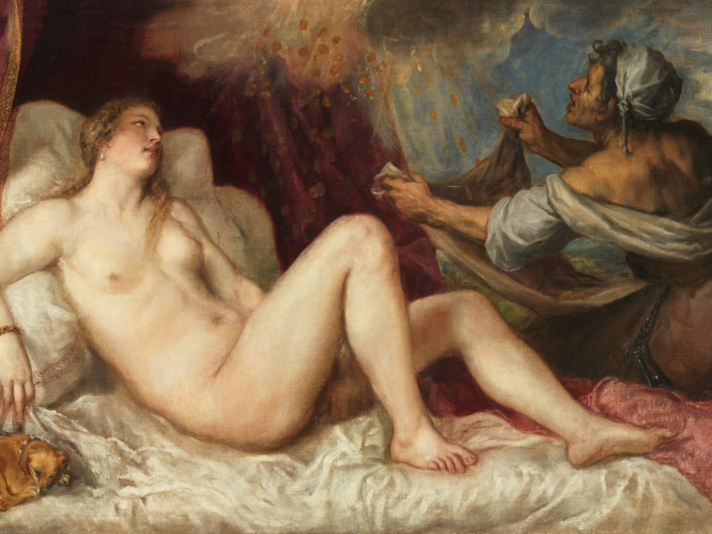 Dánae recibiendo la lluvia de oro 1560 - 1565. Óleo sobre lienzo, 129,8 x 181,2 cm. Sala C