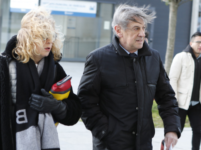 El ex presidente del Club de Fútbol Osasuna, Miguel Archanco, a su llegada al Palacio de Justicia de Pamplona