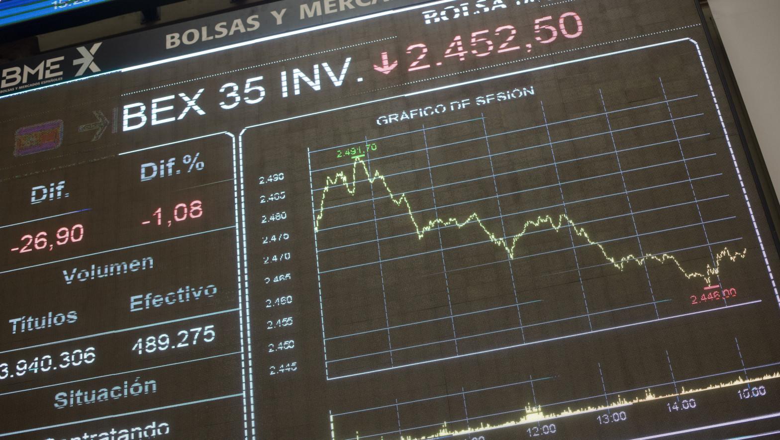 Valores económicos en el Palacio de la Bolsa de Madrid.