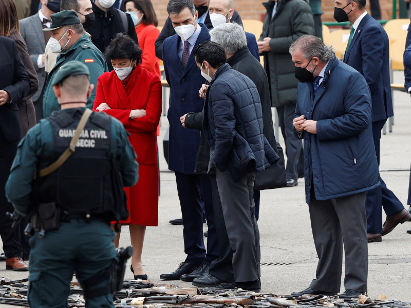 Acto de destrucción de armas incautadas en décadas pasadas a las bandas terroristas ETA y GRAPO