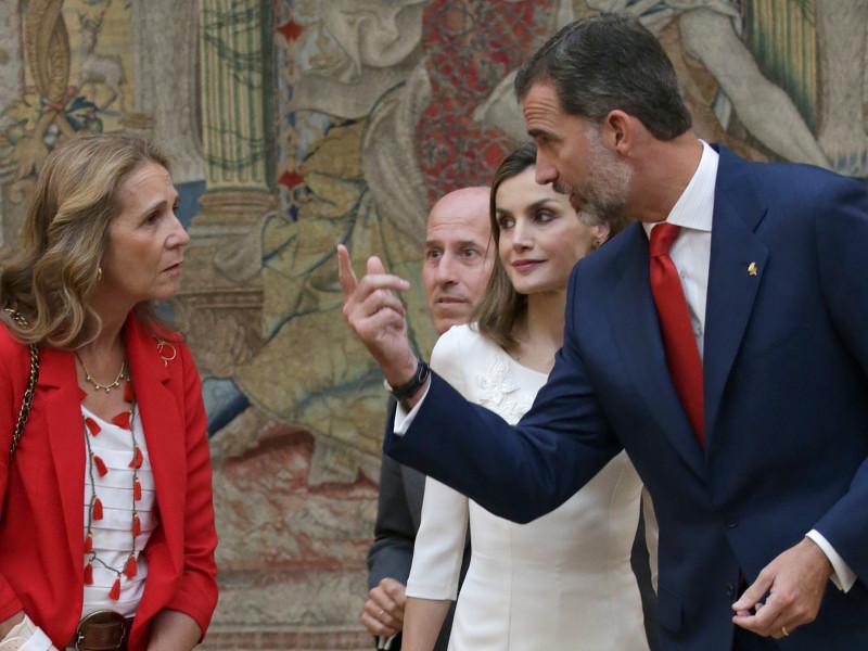 La infanta Elena, con los reyes Felipe y Letizia