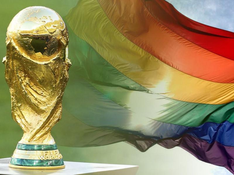 Fotocomposición con la copa del mundo y la bandera LGTBI.