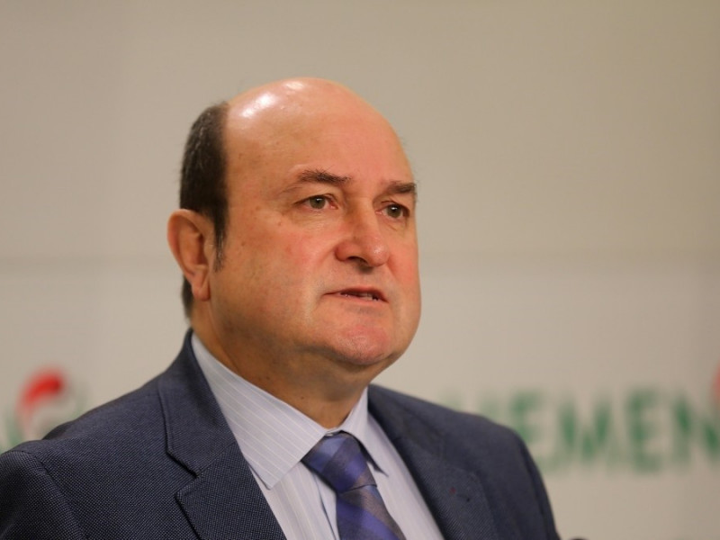 El presidente del EBB del PNV Andoni Ortuzar, en una comparecencia de prensa