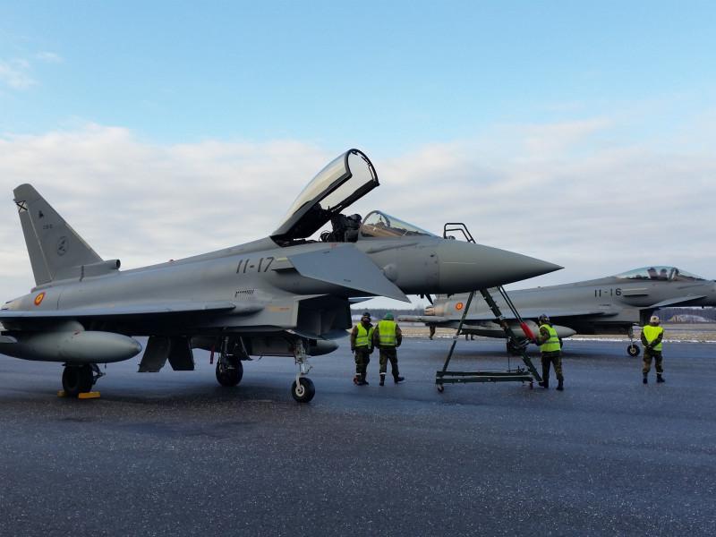 Dos cazas Eurofighter españoles