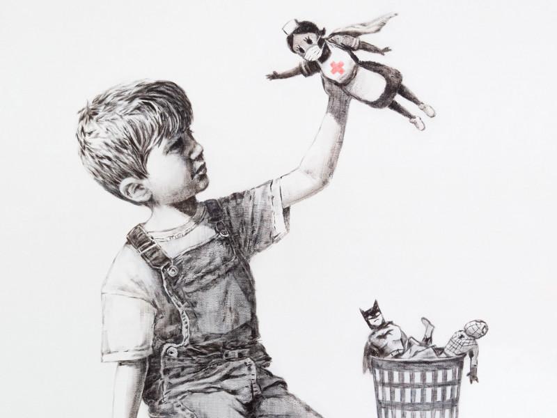 Banksy subasta su obra dedicada a los sanitarios, valorada en unos cuatro millones