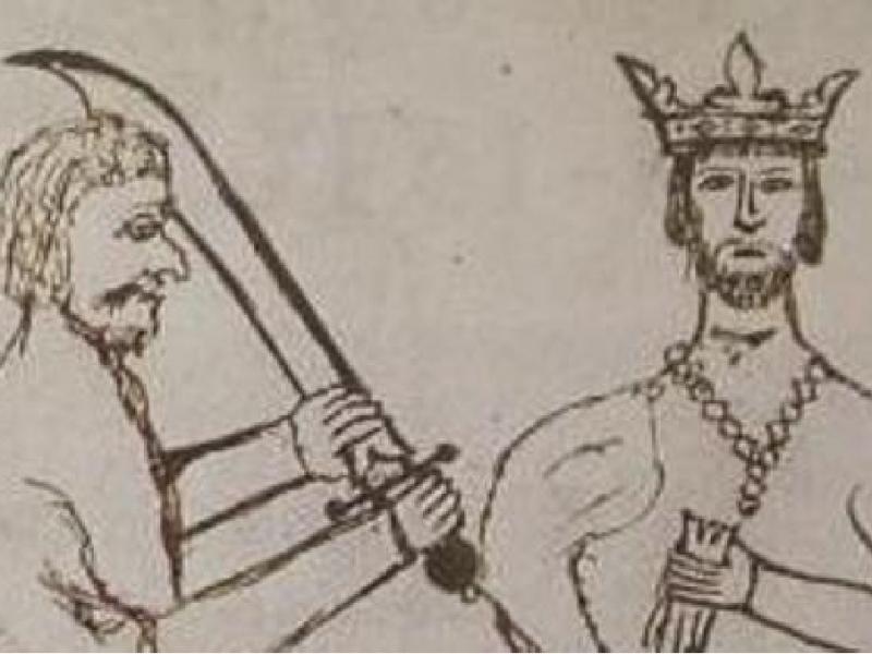 Dibujo de la época del atentado, en el Dietari de l'Antich Consell Barceloní