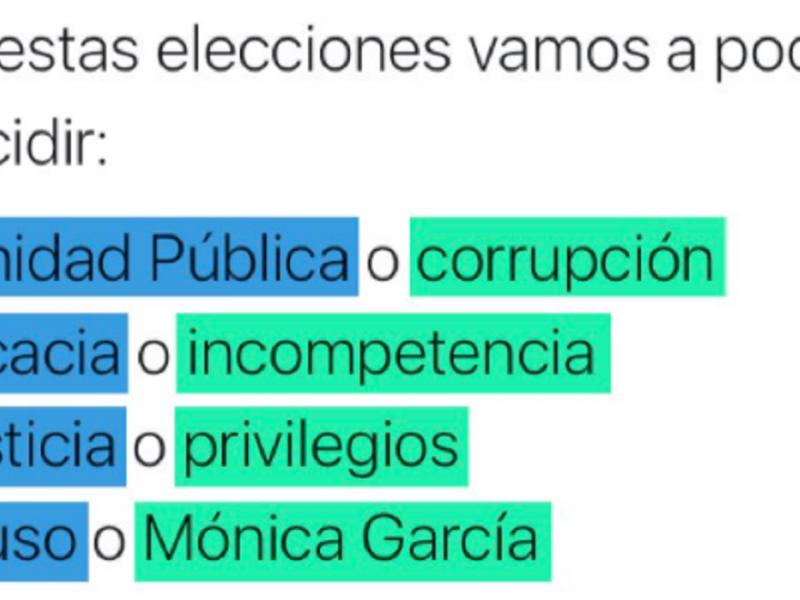 Un tuit de una cuenta de Más Madrid vincula a su candidata con la corrupción.