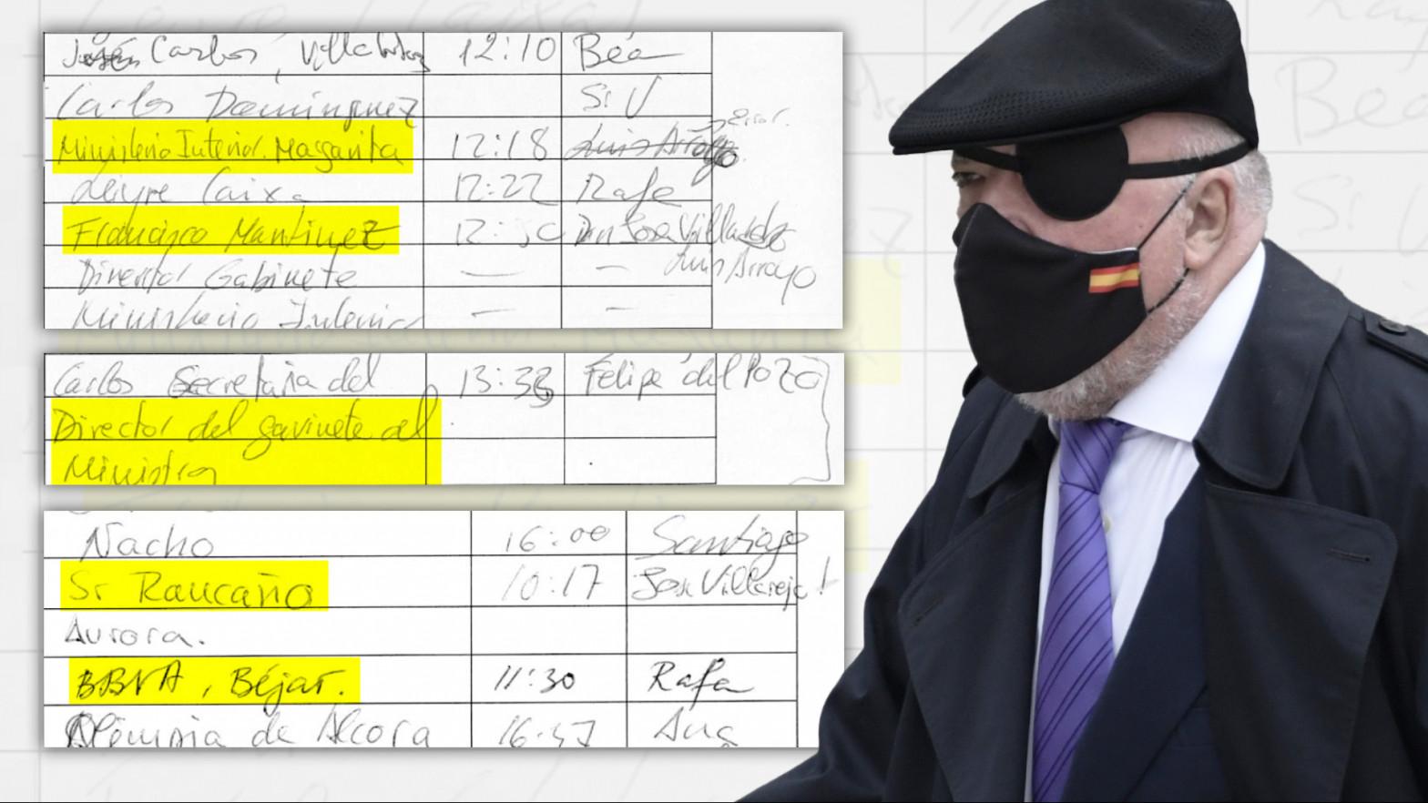 """El """"control de llamadas"""" de Villarejo aflora sus contactos con Interior, La Caixa y BBVA"""