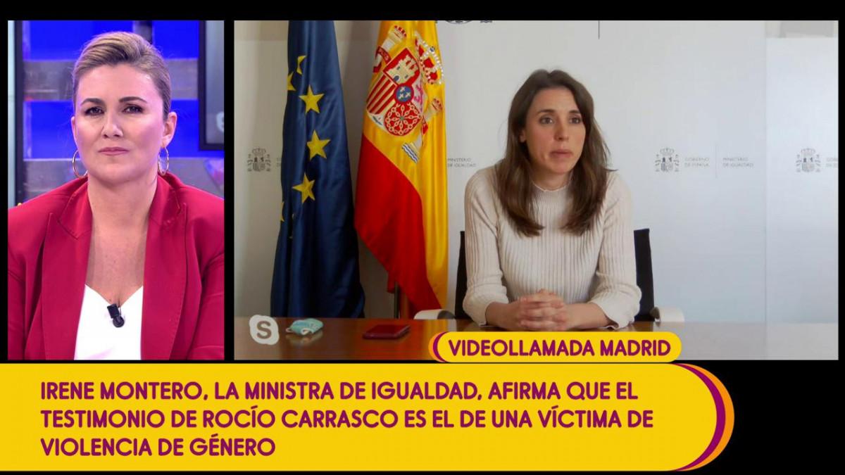 """Irene Montero entra en 'Sálvame' para decir que Roció Carrasco """"ha sido muy valiente"""""""