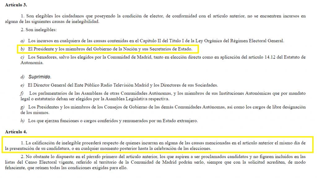 Artículos 3 y 4 de la Ley Electoral de la Comunidad de Madrid.