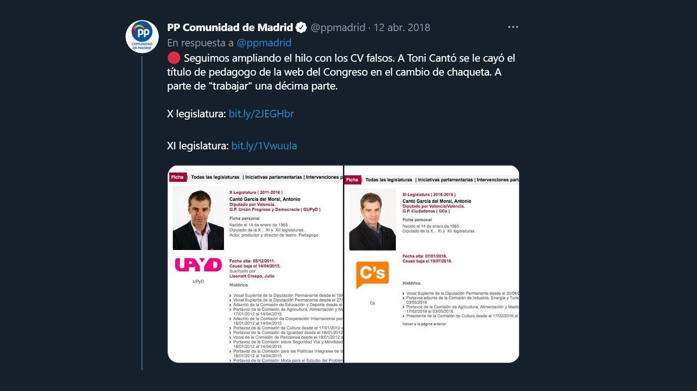 Tuit que el PP de Madrid publicó el 12 de abril de 2018 sobre el cambio en el CV de Toni Cantó.
