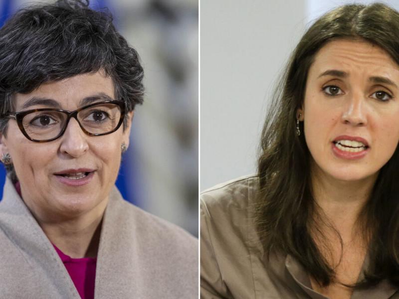 Las ministras de Exteriores, Arancha González Laya, y de Igualdad, Irene Montero.