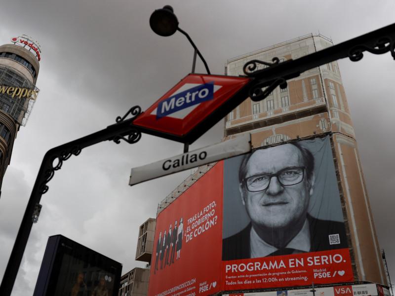 La Junta Electoral ordena retirar la publicidad electoral del PSOE de Gran Vía