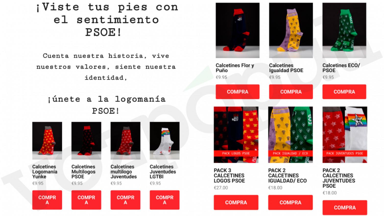 El PSOE indigna a los militantes de Madrid con un 'mailing' para la venta de calcetines del partido