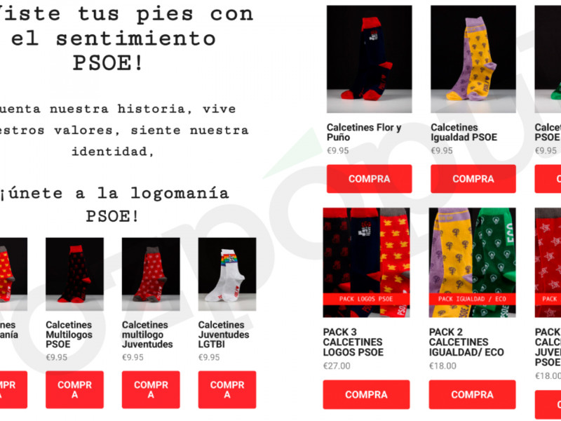 El PSOE indigna a los militantes de Madrid con un mailing para la venta de calcetines del partido