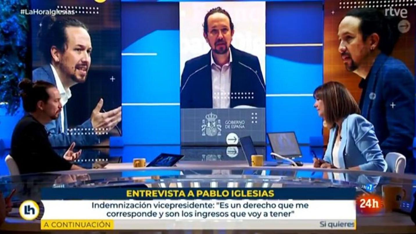 Pablo Iglesias y Mónica López en RTVE