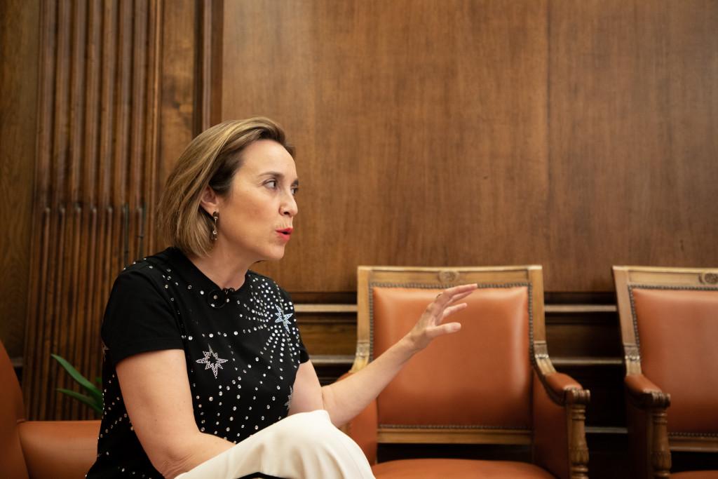 Cuca Gamarra en la entrevista con Vozpópuli