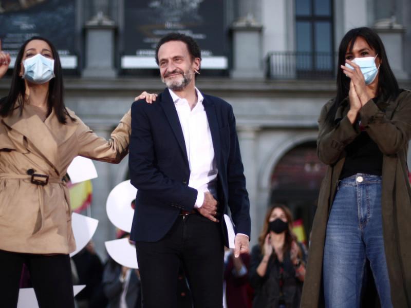 Inés Arrimadas, Edmundo Bal y Begoña Villacís, en el arranque de campaña de las elecciones en Madrid, este sábado.