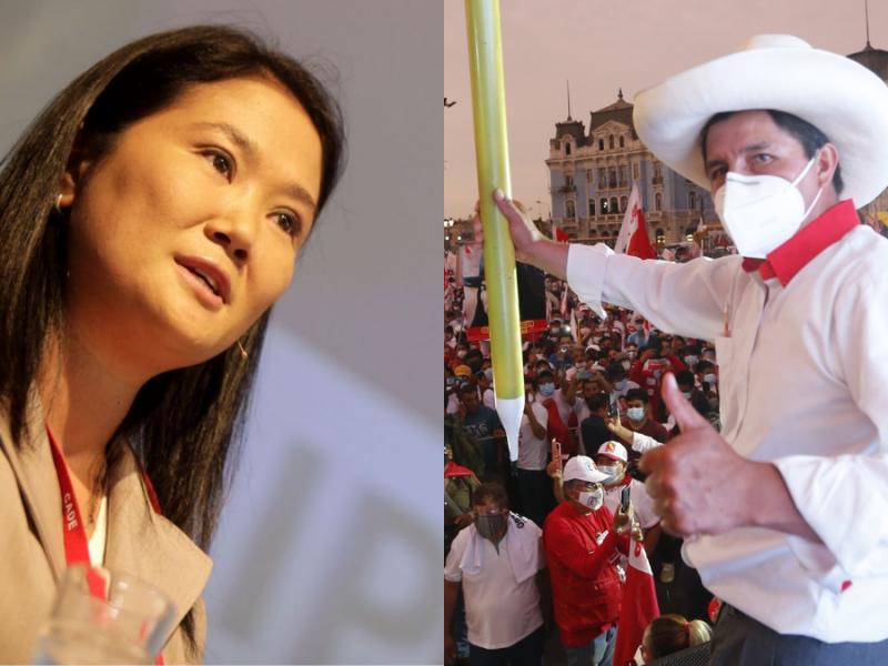 El primer sondeo para la segunda vuelta electoral en Perú da a Castillo un 42% y a Fujimori un 31%