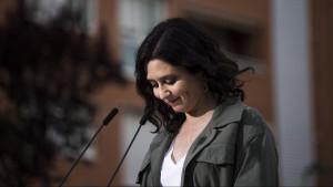 La presidenta de la Comunidad de Madrid y candidata a la reelección, Isabel Díaz Ayuso, el pasado 14 de abril.