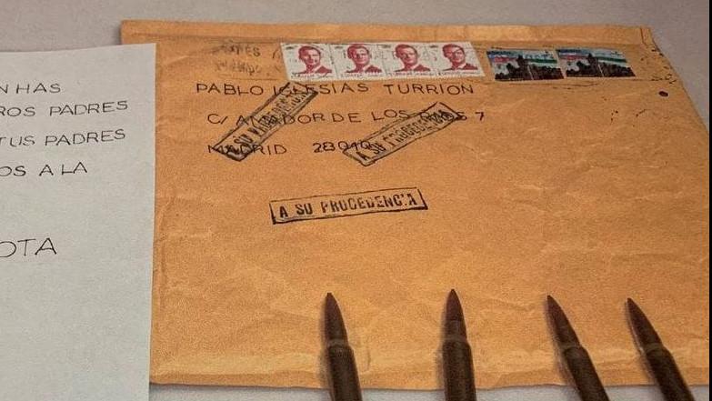 La carta con balas y amenazas dirigida a Pablo Iglesias, Fernando Grande-Marlaska y María Gámez.