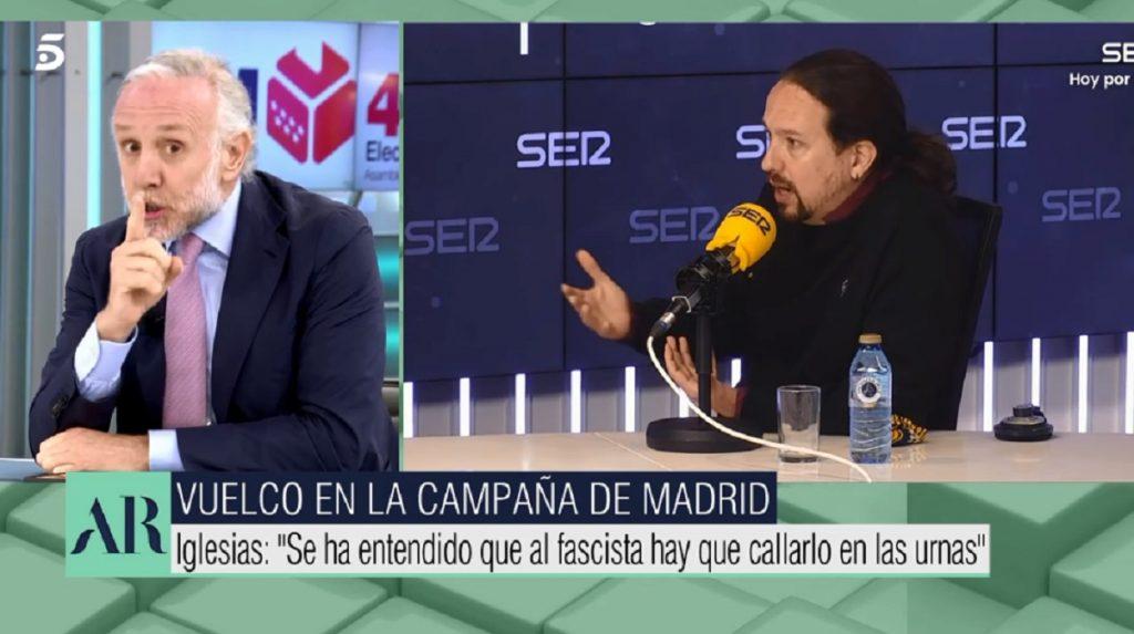 Eduardo Inda llama fascista a Pablo Iglesias por señalarle