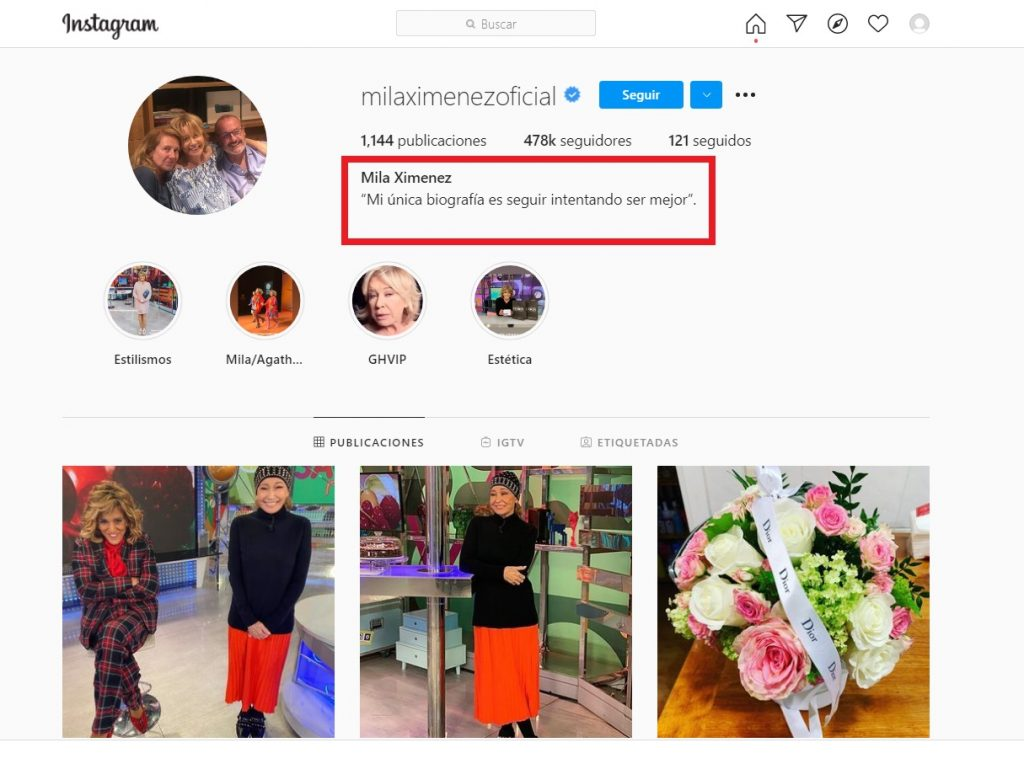 Mila Ximénez escribe una frase reveladora en su perfil de Instagram