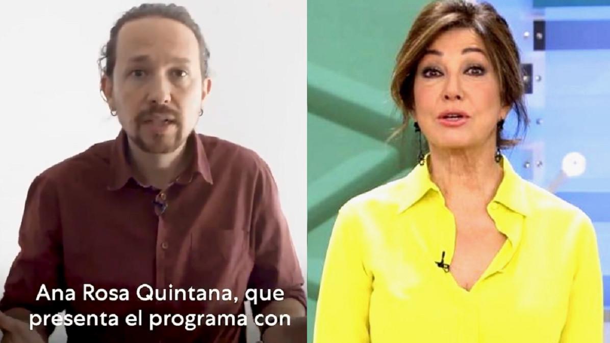 Pablo Iglesias acusa Ana Rosa Quintana de mentir y la relaciona con estar detrás de las amenazas de muerte contra él