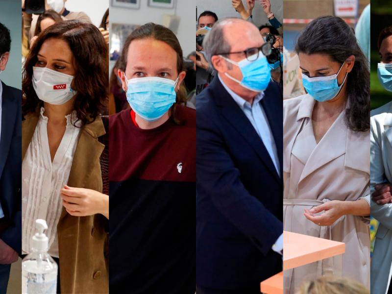 Edmundo Bal, Isabel Díaz Ayuso, Pablo Iglesias, Ángel Gabilondo, Rocío Monasterio y Mónica García.