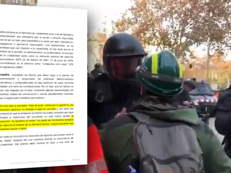 """Un juez anula la sanción interna al agente de los Mossos que dijo """"la república no existe, idiota"""""""