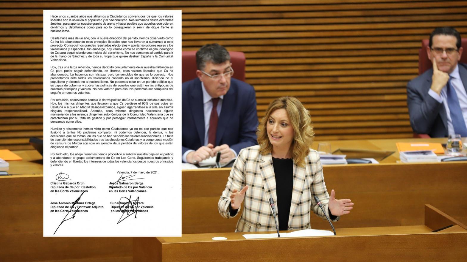 Cuatro diputados abandonan el grupo de Ciudadanos en el parlamento valenciano