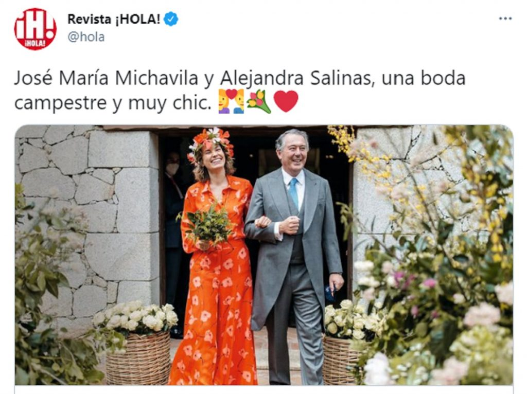 José María Michavila y Alejandra Salinas, el día de su boda