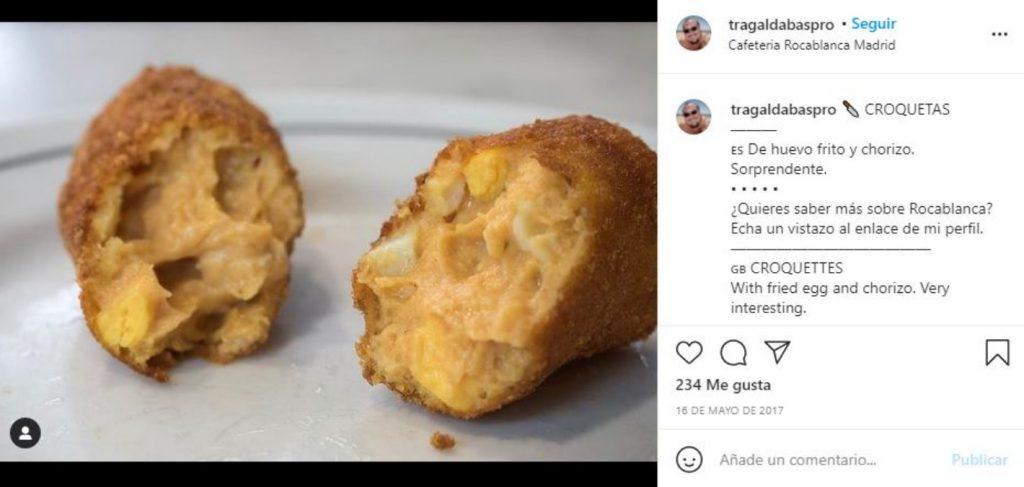 La croqueta de Rocablanca de huevo frito y chorizo.