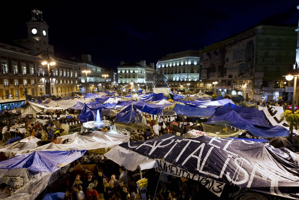 Acampada en la Puerta del Sol en las protestas del 15M