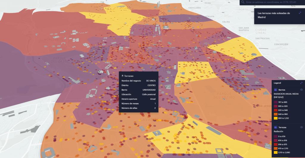 Mapa interactivo con las terrazas más soleadas de Madrid.