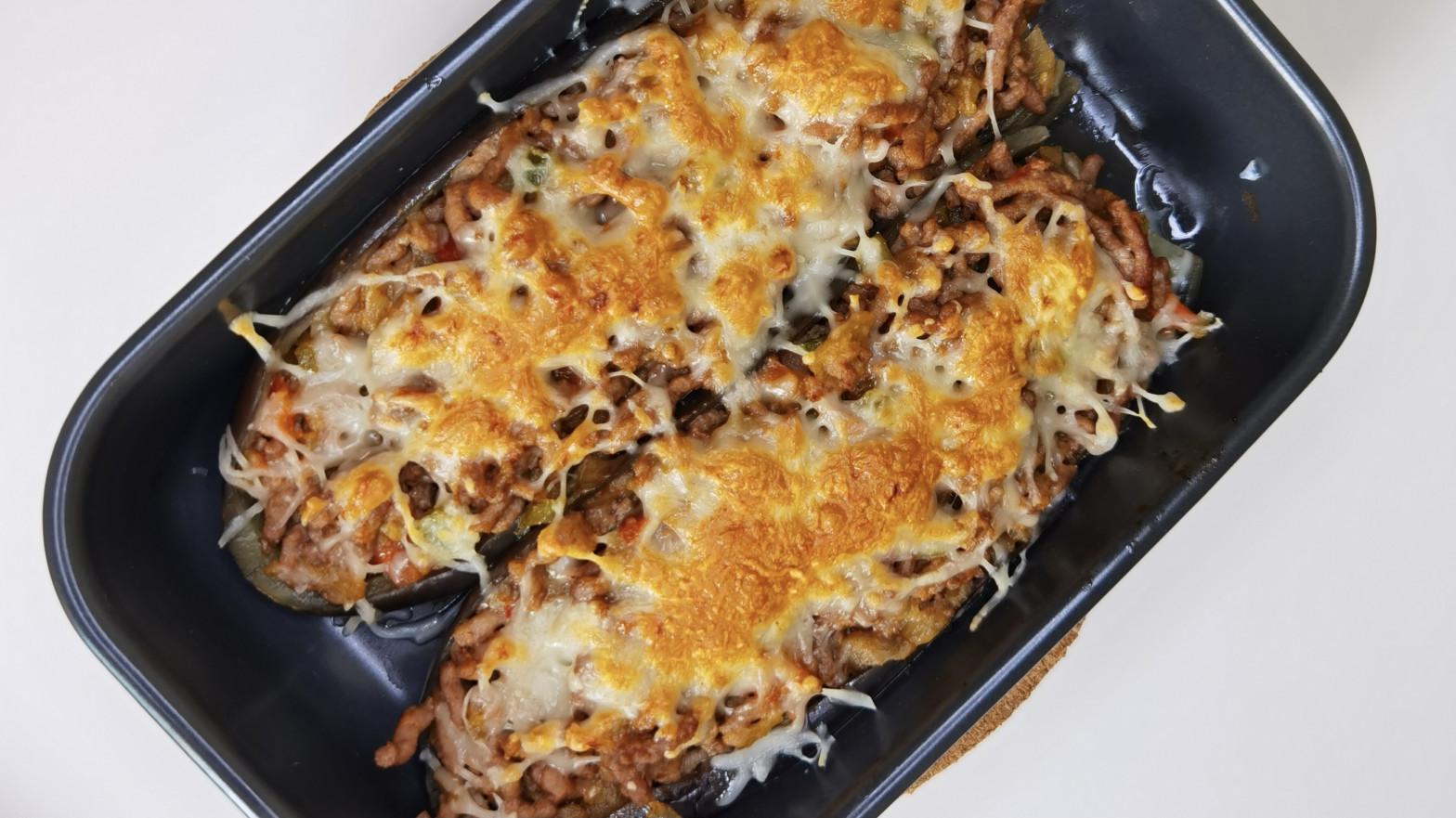 Receta de berenjenas rellenas al horno con queso gratinado